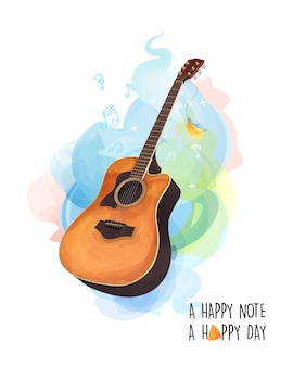 Guitar theme birthday card illustration