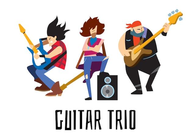 Guitar trio concept with musicians