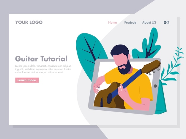Guitar tutorial illustration for landing page