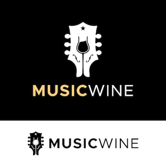 Guitar wine glasses concert live music for bar cafe restaurant nightclub logo