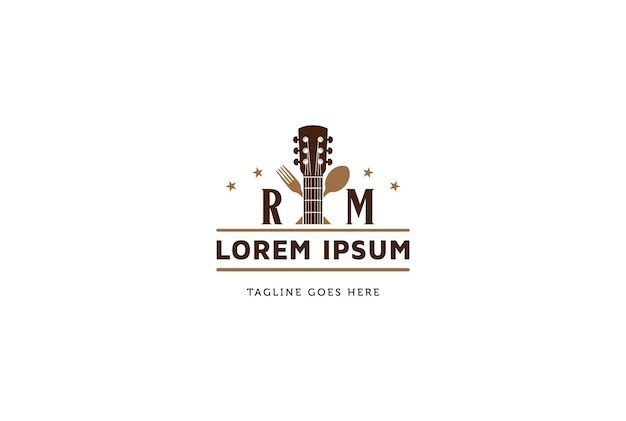 Guitar with spoon fork for bar, cafe, restaurant live music logo design vector