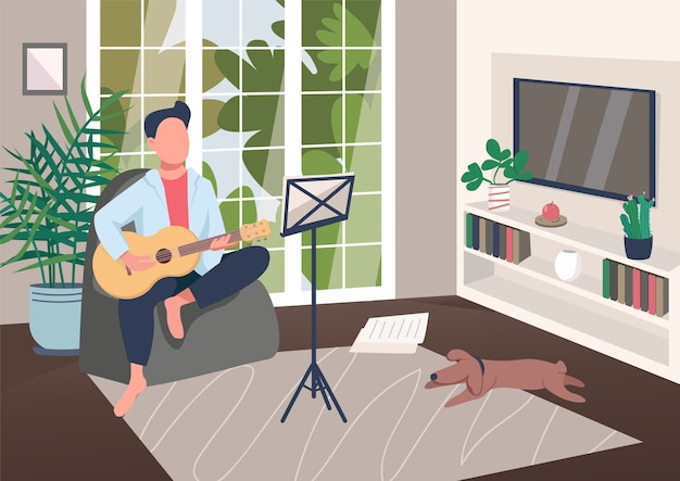 Гитарист дома плоская цветная иллюстрация