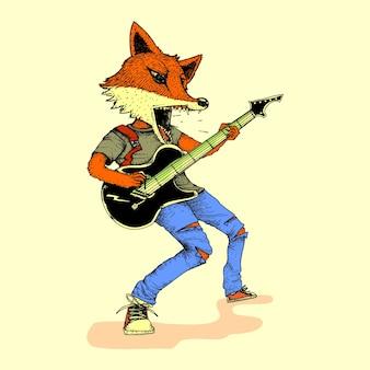 Guitarist fox in action