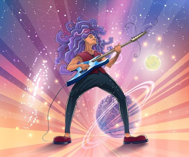 Гитарист на сцене с гитарой на космическом фоне с планетами, галактиками и звездами.
