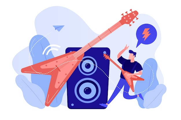 Guitarist playing the electric guitar at concert, tiny people. rock music style, rock and roll party, rock music festival concept. pinkish coral bluevector isolated illustration