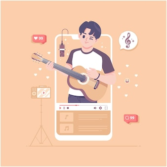 Guitarist video concept vector illustration