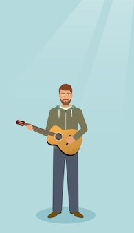 Guitarist with musical instrument standing alone. musician man with guitar.