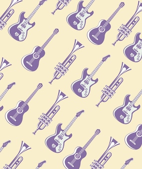 Guitars electrics and acoustics with trumpets pattern