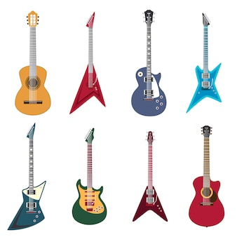 Guitars icons. acoustic guitars and electric guitar   illustration