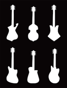 기타 악기 흑백 스타일 아이콘 번들 디자인