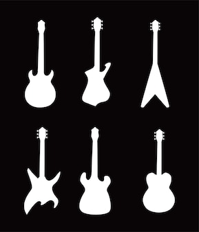 Guitars instruments black and white style icons design