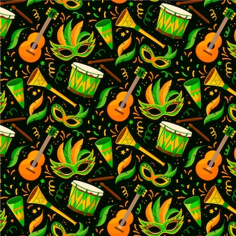 Guitars and masks brazilian carnival pattern flat design
