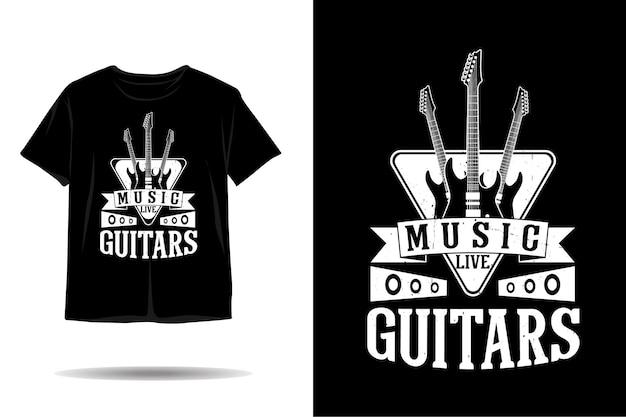 ギター音楽シルエットtシャツデザイン