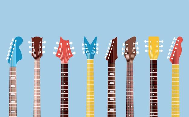 Guitars necks and headstocks set