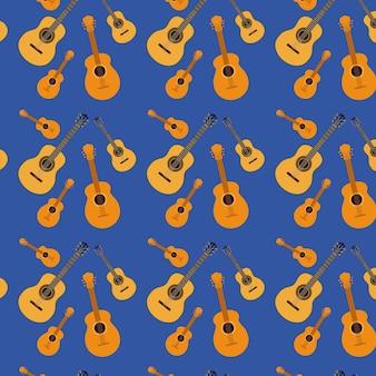Guitars pattern in dark blue background
