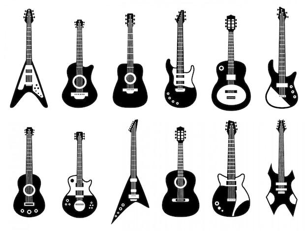Силуэт гитары. черный электрический и акустический музыкальный инструмент, рок-джаз-гитара силуэт, музыкальные группы гитары иллюстрации иконки набор. гриф гитары, силуэт укулеле и джазовая акустика