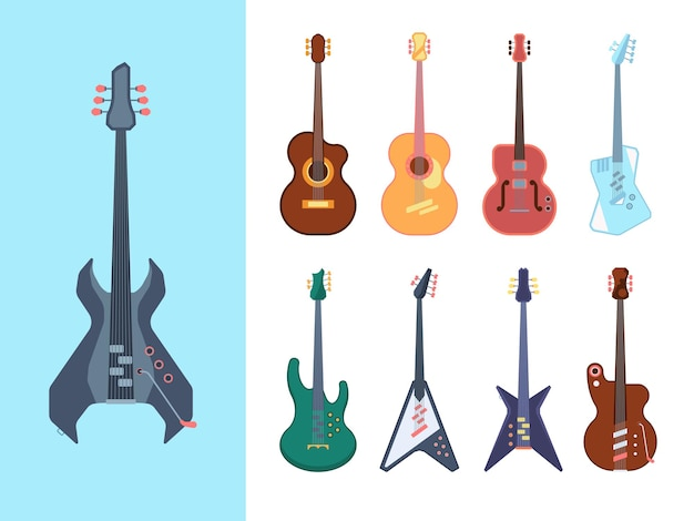 Guitars stylish set. instruments acoustic for jazz country and heavy metal jumbo string deck form retro modern equipment for blues bands form of classical electric musical.