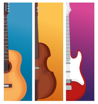 Guitars and violin instrument illustration