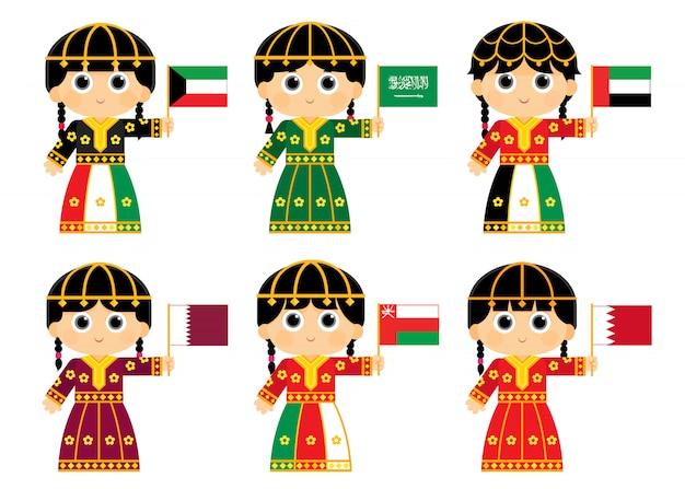 Gulf cooperation council flags : kuwait , saudi arabia . united arab emirates , qatar . oman and bahrain Premium Vector