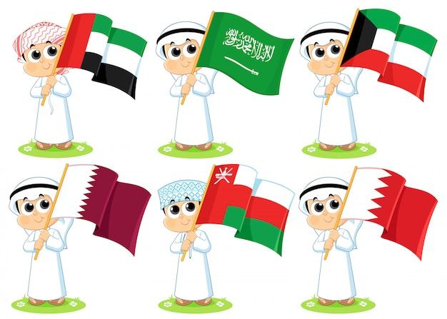Флаги совета сотрудничества стран залива (объединенные арабские эмираты, саудовская аравия, кувейт, катар, оман и бахрейн)