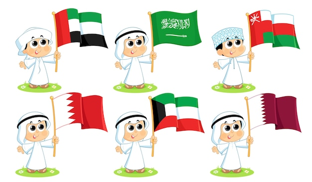 Gulf cooperation council flags ( united arab emirates , saudi arabia , oman , bahrain ,   kuwait  and qatar  )