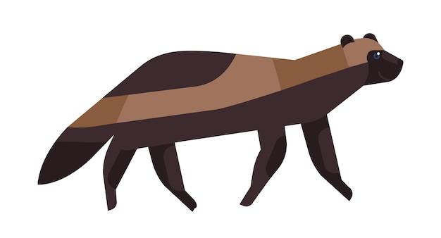 Gulo gulo 평면 벡터 일러스트 레이 션. 미니멀한 울버린 그림. 갈색 대식가, carcajou, 스컹크 곰, quickhatch 멸종 위기에 처한 종 클립 아트. 야생 동물, 울버린 흰색 배경에 고립입니다.