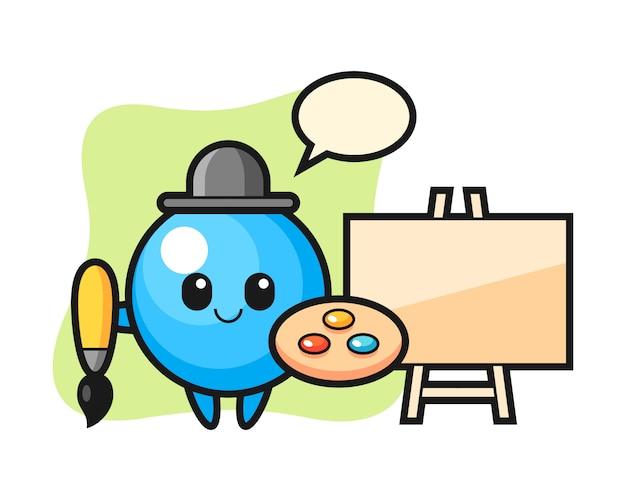 Gum ball cartoon as a painter