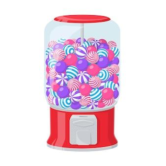 검볼 기계, 흰색 배경에 줄무늬 풍선껌이 있는 디스펜서. 둥근 씹는 사탕과 과자로 가득 찬 투명한 용기가 있는 빨간색 자동 판매기의 벡터 만화 그림