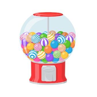 검볼 기계, 줄무늬 풍선껌이 있는 빨간색 디스펜서. 흰색 배경에 격리된 둥근 씹는 사탕과 과자로 가득 찬 투명한 용기가 있는 자동 판매기의 벡터 만화 그림