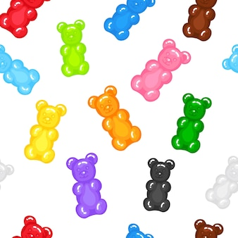 Gummy bear jelly sweet candy seamless pattern