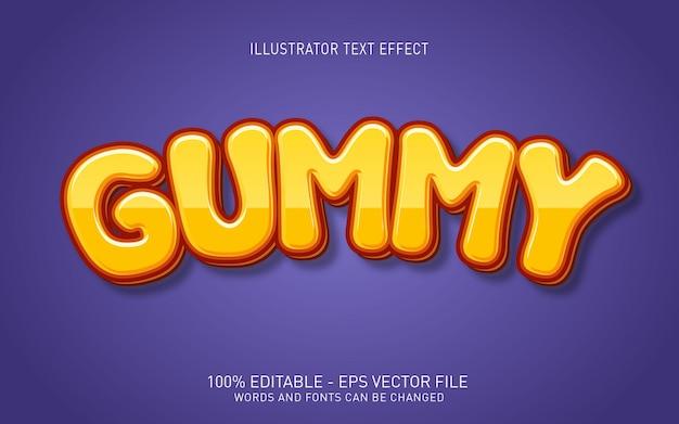 Редактируемый текстовый эффект, иллюстрации в стиле gummy