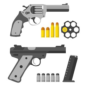 Gun bullets in flat design