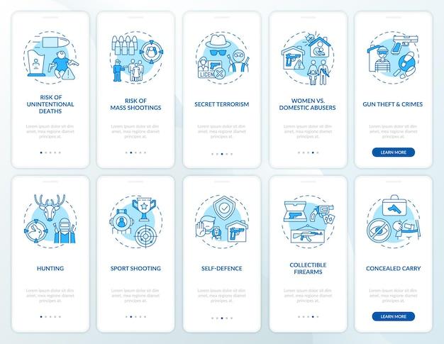 Синий экран стартовой страницы мобильного приложения управления оружием с концепциями. владение огнестрельным оружием. риски использования оружия, прохождение опасности 5 шагов графических инструкций. шаблон пользовательского интерфейса с цветными иллюстрациями rgb