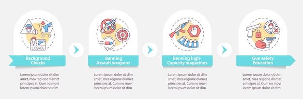銃規制のインフォグラフィックテンプレート。銃のプレゼンテーションデザイン要素の安全教育。ステップによるデータの視覚化。タイムラインチャートを処理します。線形アイコンのワークフローレイアウト