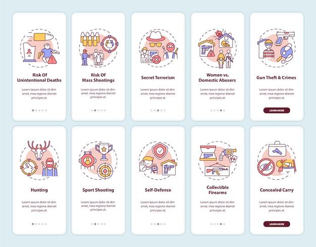 개념이있는 총기 규제 온 보딩 모바일 앱 페이지 화면. 총기 소유권. 무기 사용 위험 및 위험 연습 단계. rgb 색상의 ui 템플릿