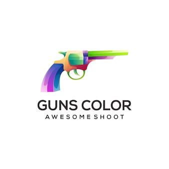 Пистолет ковбой логотип красочный градиент