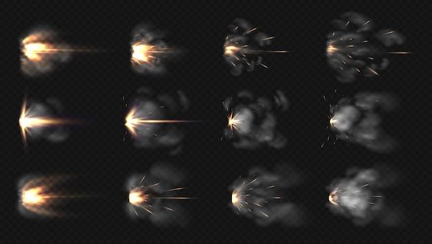 Вспышка пистолета. реалистичная дульная вспышка и спецэффекты огня и дыма из дробовика.