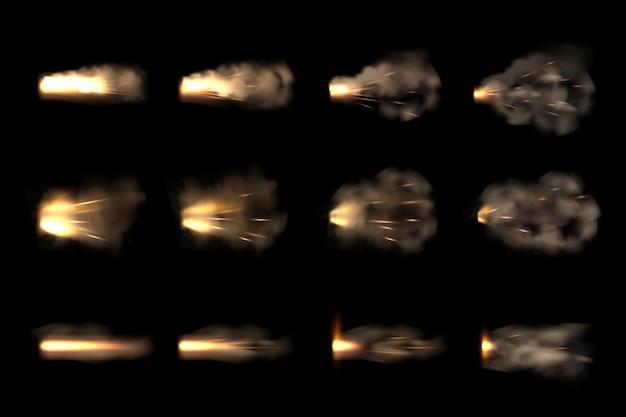 ガンフラッシュ。リアルなピストルの炎と煙のバースト効果のベクトルフレームアニメーション。イラスト明るい射撃モーション、バースト、爆発効果