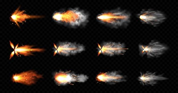 銃は煙と火の輝きで点滅します。ピストルショット雲、銃口ショットガン爆発。爆風の動き、黒い背景に分離された武器の弾丸の軌跡。リアルな3dイラスト、アイコンセット