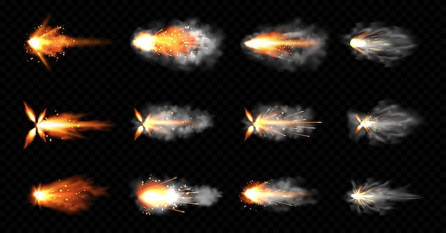 Gun flashes with smoke and fire sparkles. pistol shots clouds, muzzle shotgun explosion. blast motion, weapon bullets trails isolated on black background. realistic 3d illustration, icons set