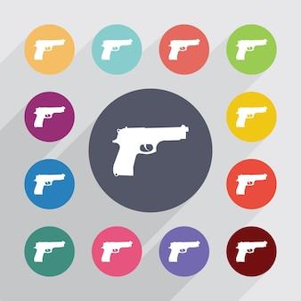 銃、フラットアイコンを設定します。丸いカラフルなボタン。ベクター