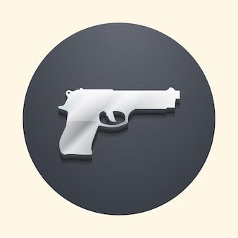 Иллюстрация значка пистолета. креативное и трехмерное изображение