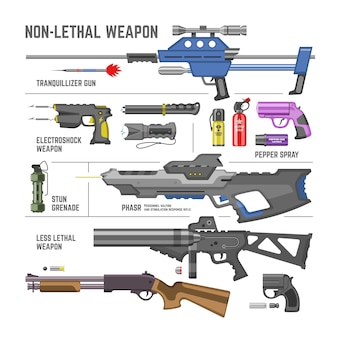 Gun  military non-lethal weapon or army handgun and electroshok pepper-spray illustration set of shotgun lethal-weapon stun grenade isolated on white background