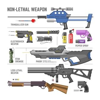 흰색 배경에 고립 된 산탄 총 치명적인 무기 기발한 수류탄의 총 군사 치명적이지 않은 무기 또는 육군 권총 및 electroshok 고추 스프레이 그림 세트