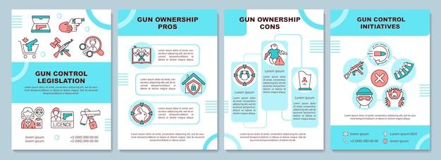 銃の所有権の長所と短所のパンフレットテンプレート。イニシアチブを管理します。