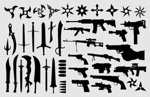 Gun, pistol, sword and knife silhouette