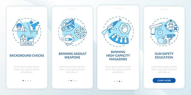 개념이있는 총기 안전 지침 파란색 온 보딩 모바일 앱 페이지 화면. 무기 제어 및 규제 연습 단계 그래픽 지침. rgb 색상 삽화가있는 ui 템플릿