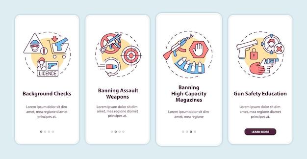 개념이있는 모바일 앱 페이지 화면 온 보딩 총기 안전 지침. 무기 통제 및 규제 연습 단계. rgb 색상의 ui 템플릿