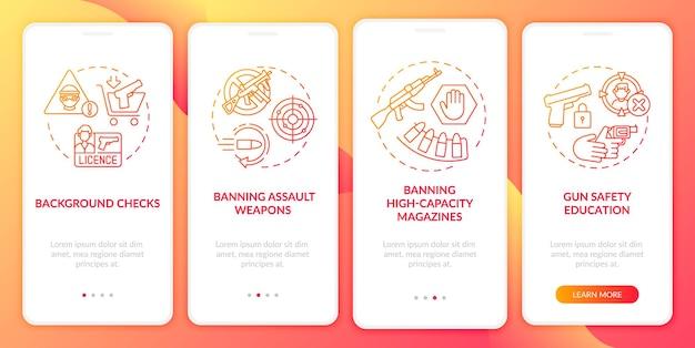 銃の安全ガイドライン赤いオンボーディングモバイルアプリのページ画面とコンセプト。武器の制御と規制のウォークスルー5ステップ。 rgbカラーのuiテンプレート