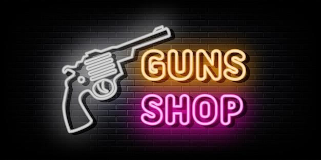 Gun shop neon logo sign vector